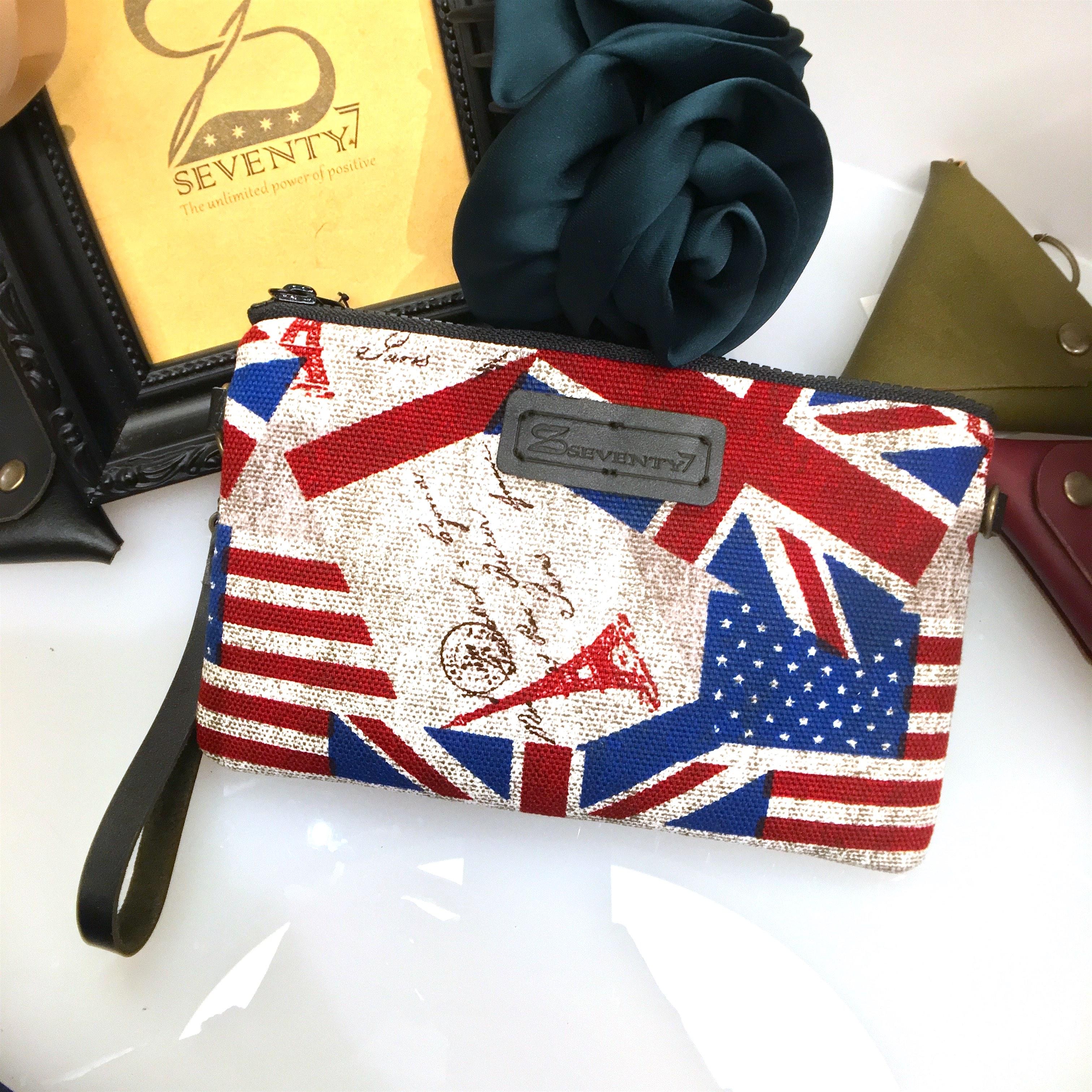 BAP 手拿包 筆袋 手機包 萬用包-英美國旗