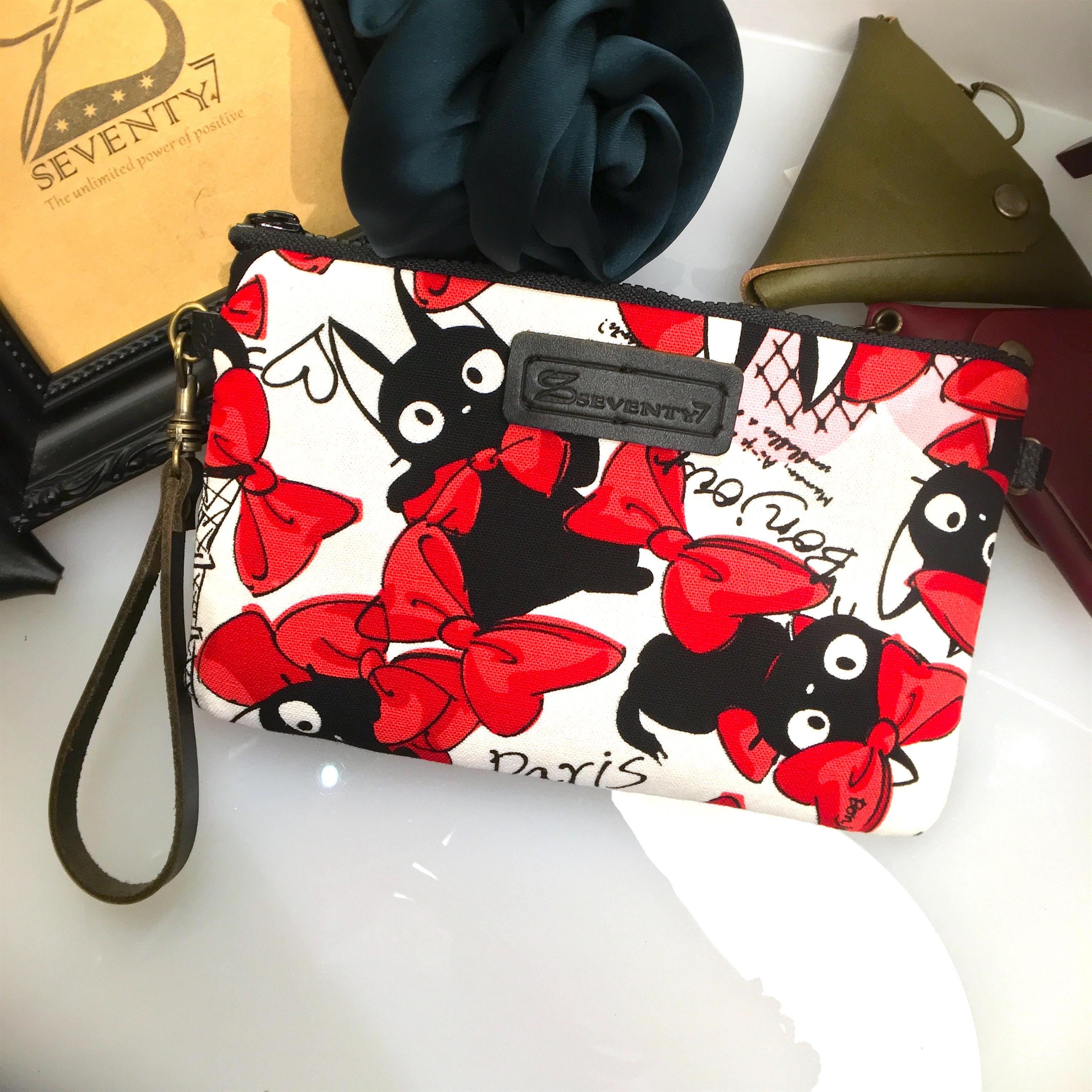 BAP 手拿包 筆袋 手機包 萬用包-白底紅蝴蝶結黑貓
