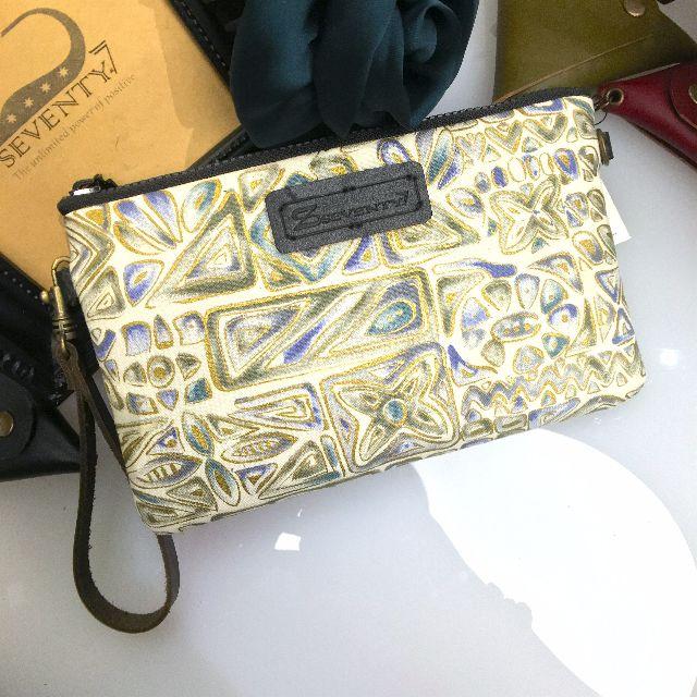 BAP 手拿包 筆袋 手機包 萬用包-米白底金邊藍綠幾何圖騰