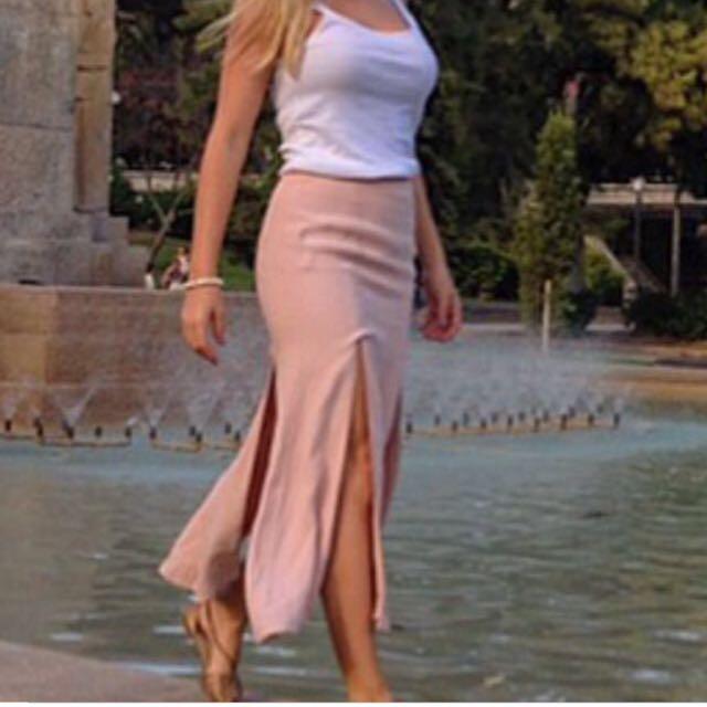 Bardot Midi Skirt With Splits Size 10