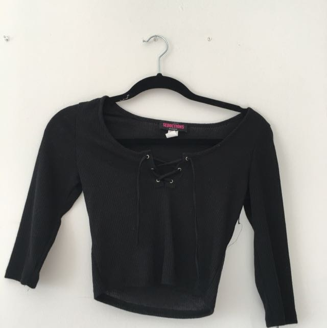 Black Criss Cross Shirt (cropped)