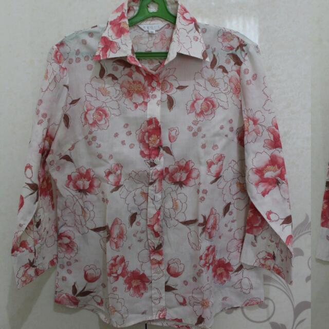 Blouse Or Kemeja Flower Pink