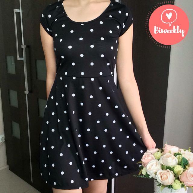 BN! COTTON ON Black Polka Dots Dress