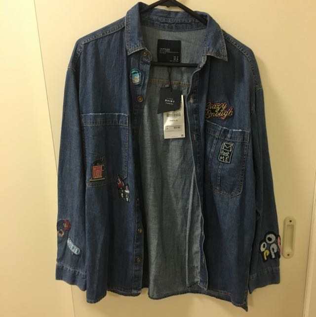 BNWT Zara denim patchwork shirt