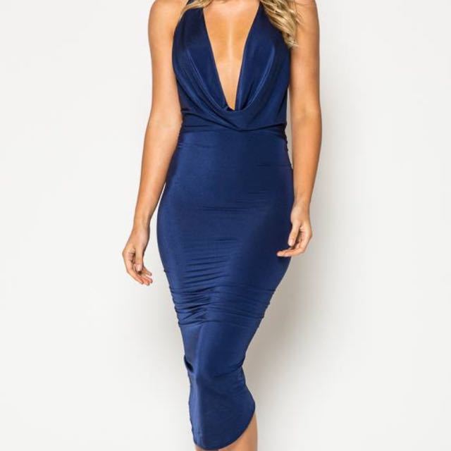 Formal Bodycon midi Dress Plunge & Backless