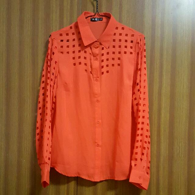 Chicabooti Orange Collar Blouse
