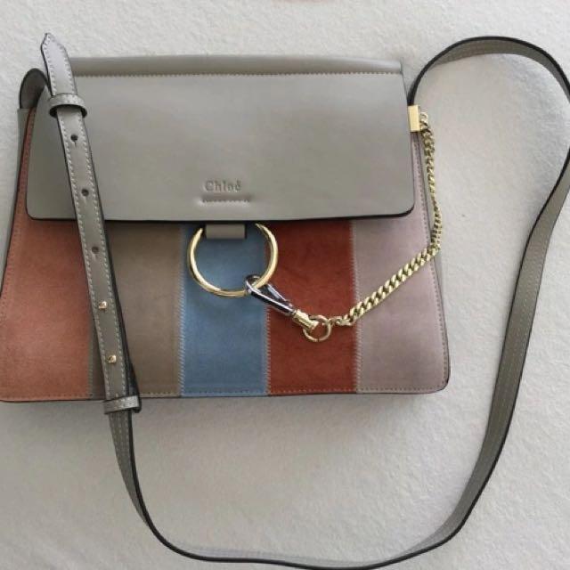 Chloe Vertical Stripe Suede Bag