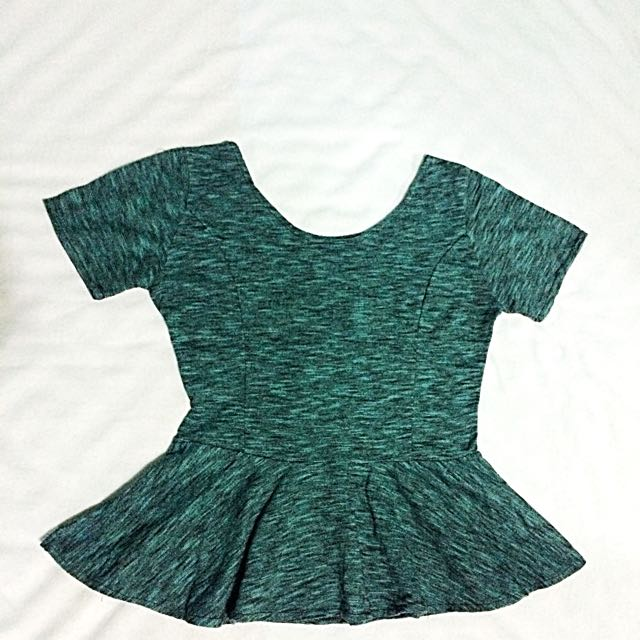 🔹RESERVED🔹Green Peplum Top