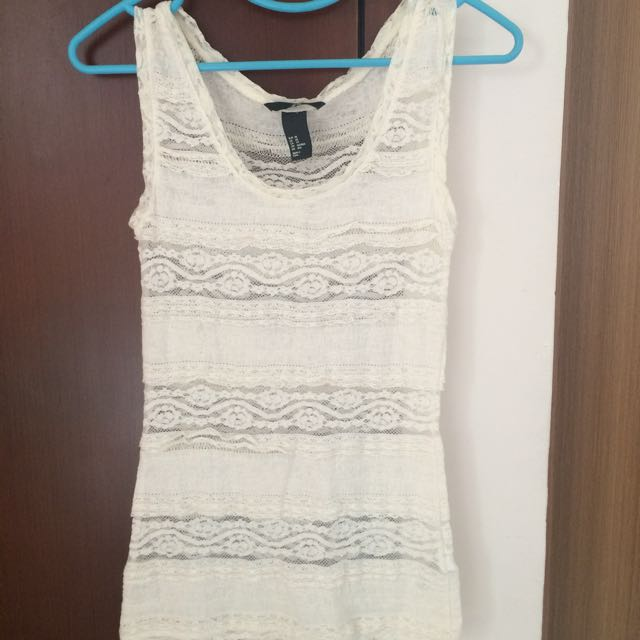 H&M White Lace Tank