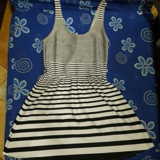 Mini Black And White Striped Dress