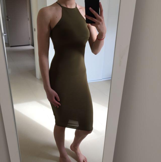 Missguided Khaki Midi Dress