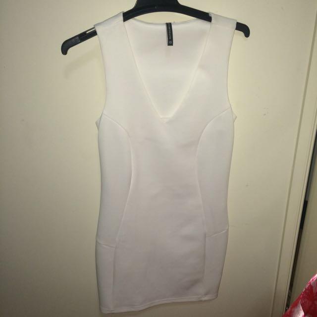 NEW White V-cut Dress