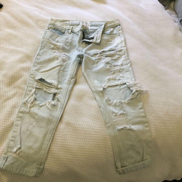 Oneteaspoon Boyfriend Ripped Jeans Size 27