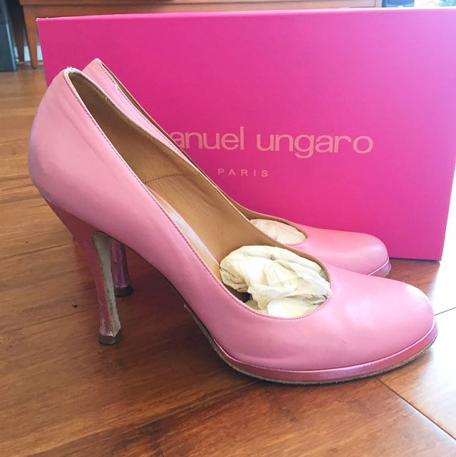 Pink French Pump Heels, Designer Emanuel Ungaro, Size 9 1/2, Calf Leather