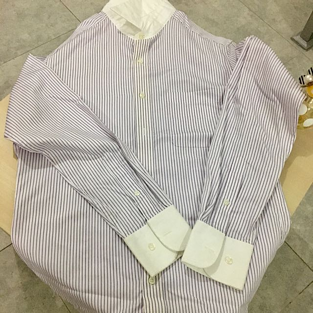 purple striped shirt
