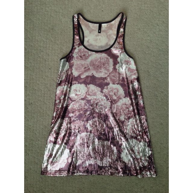 Sequinned Floral Tank Dress