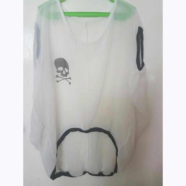 Sheer Skull Blouse/Cover Up