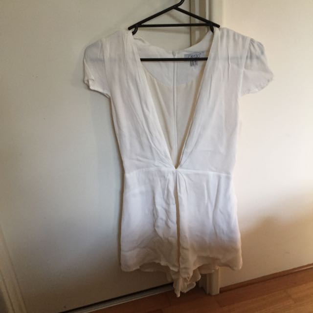 White Cameo Playsuit Size 8