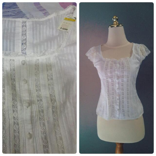 white rose lace top