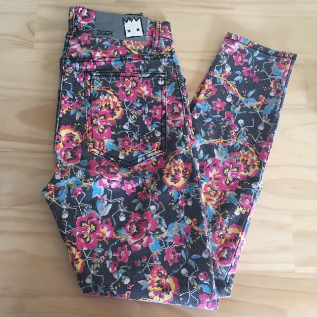 ZIGGY Denim Floral And Skulls High Waisted Jeans