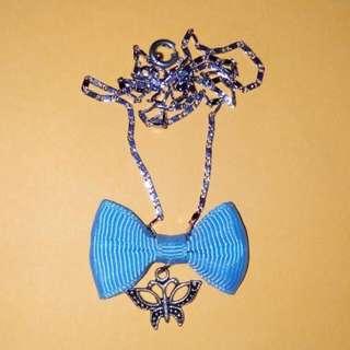 Mini Sky Blue Bow w/ Butterfly Charm Necklace