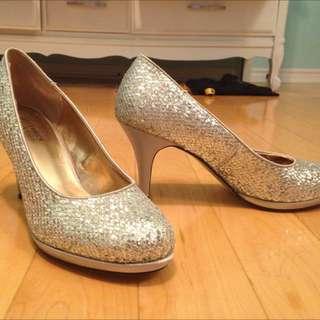 Sparkly Silver Heels