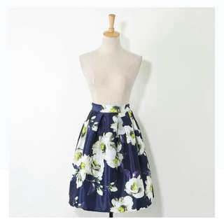 Floral A-Line Skirt (Navy Blue)