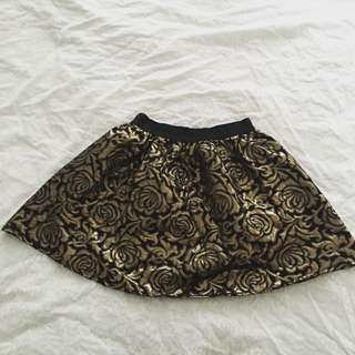 Metallic Gold Rose Embroidery Skirt