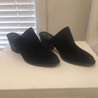 Black Leather Upper Mules From Sportsgirl