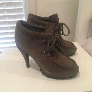 Grey Leather Upper Heels