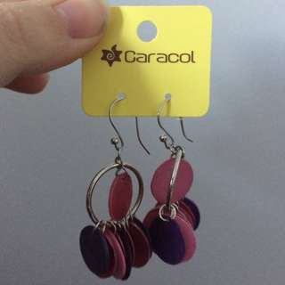 Dangly pink and purple earrings