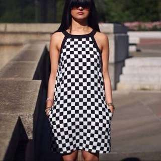 Zara Black And White Checkered Dress