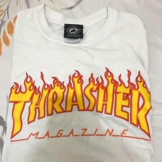 Thrasher 基本火焰白色短T