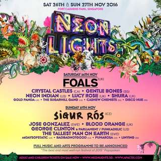 NEON LIGHTS 2016 DAY 2 (Sigur Ros) TICKET