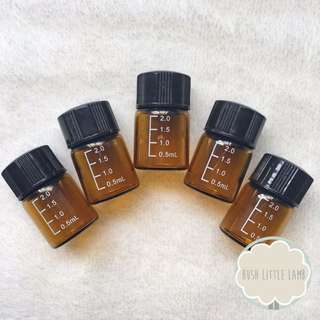IN STOCK ❥ 5 X 2ml Essential Oil Sample Bottles ( with marking )