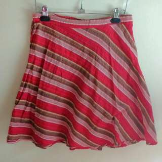 Striped Red Wrap Around Skirt