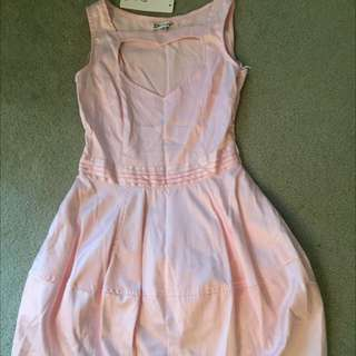 Pink Satin Love Heart Cleavage Dress