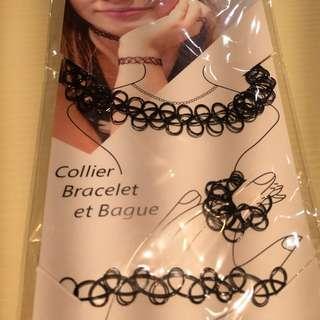 刺青頸鍊、戒指、手鍊三件組