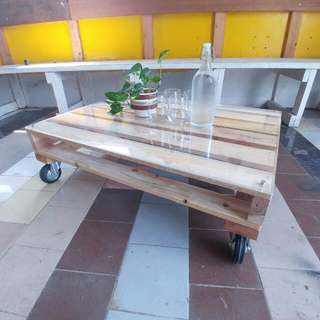 Pallet Wood Coffee Table, Glass Top