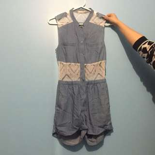 Denim Lace Playsuit