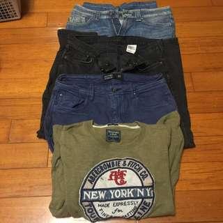 褲子32腰跟衣服 (小直筒、衣服S號)