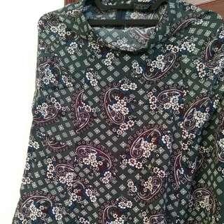 Topshop Paisley Green Skirt