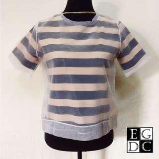 Blue & Cream Stripes Top