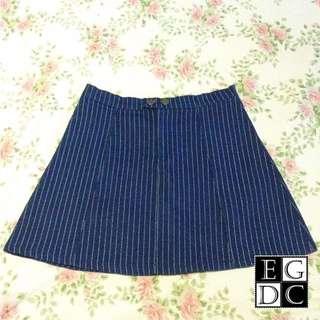 Blue Pencil-Stripes Skirt