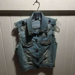 Denim, Sleeveless Studded Jacket
