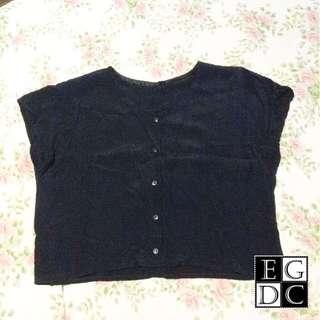 (SALE) Black Buttoned-down Top