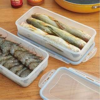 約翰家庭百貨》【AB011】長方形可瀝水海鮮肉類保鮮盒 瀝水盤冰箱冷凍盒 蔬果密封盒 水果收納盒 食品分類盒 隨機出貨