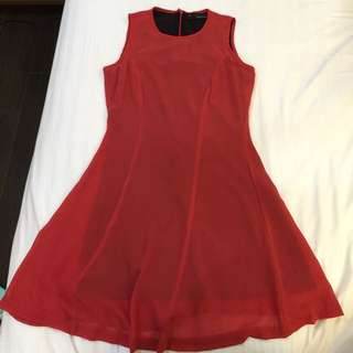 Maldita Sleeveless Red Dress Corporate Office Lined Flowy Skirt Casual