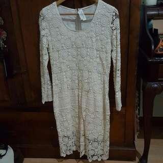 Cream Crochet Midi Dress
