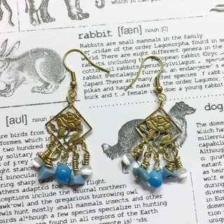 【現貨】藍色寶石黃銅手作耳環